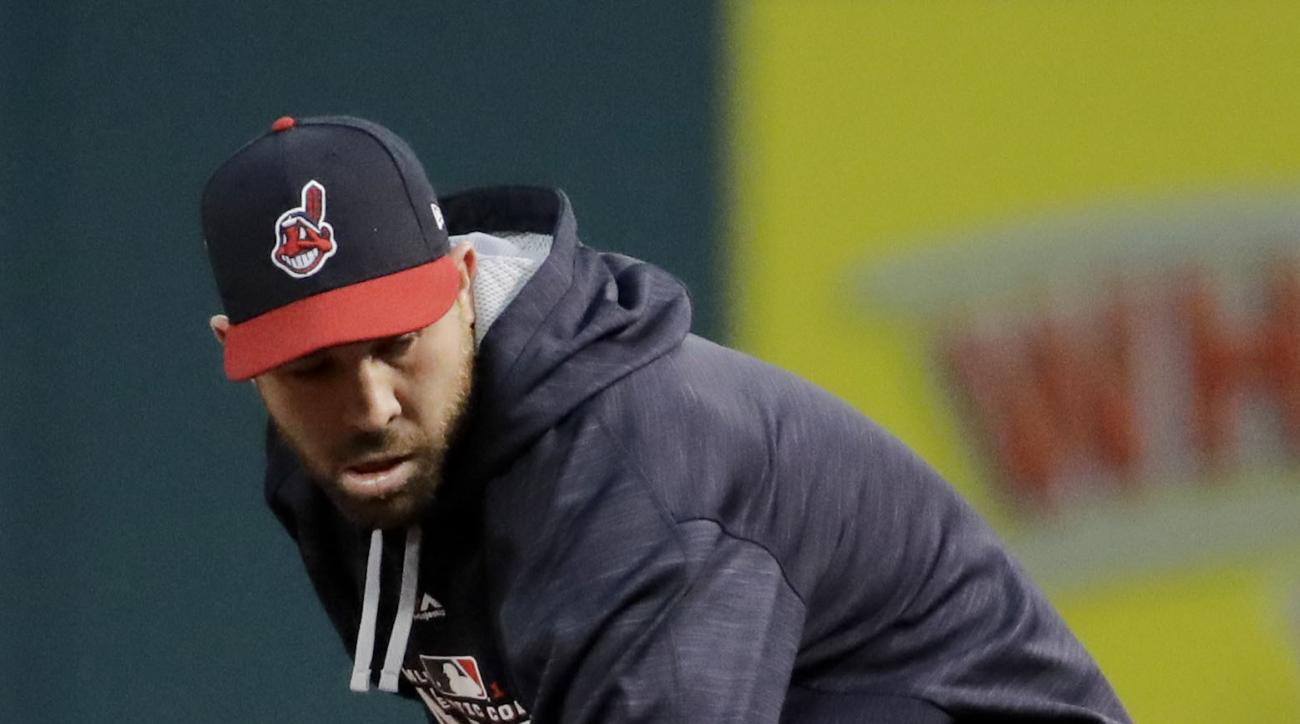 Cleveland Indians second baseman Jason Kipnis warms up during a team practice for baseball's upcoming World Series against the Chicago Cubs on Monday, Oct. 24, 2016 in Cleveland. (AP Photo/Charlie Riedel)