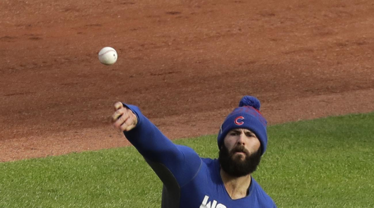 Chicago Cubs' Jake Arrieta throws before Game 1 of the Major League Baseball World Series against the Cleveland Indians Tuesday, Oct. 25, 2016, in Cleveland. (AP Photo/Charlie Riedel)