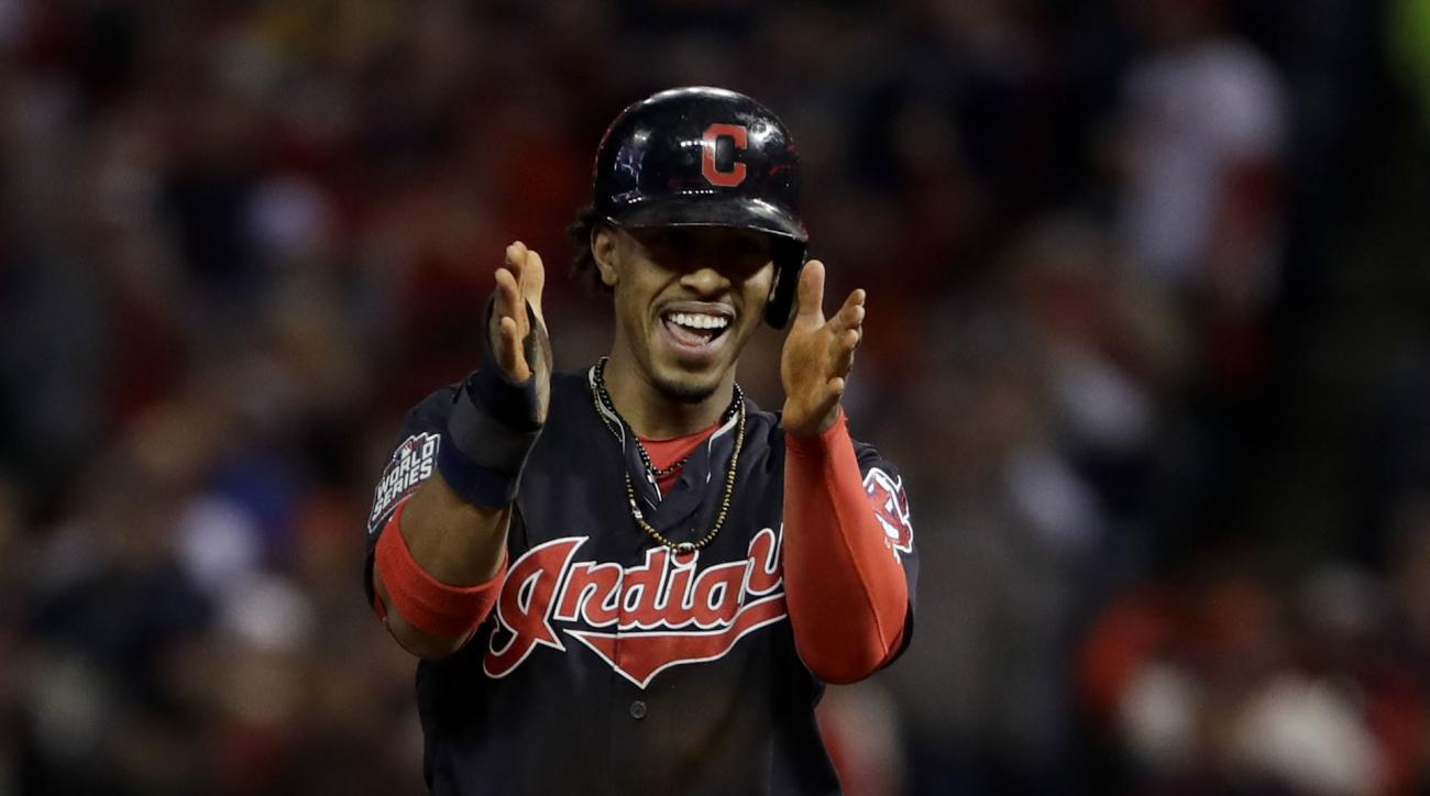 Cleveland Indians' Francisco Lindor celebrates after stealing second against the Chicago Cubs during the first inning of Game 1 of the Major League Baseball World Series Tuesday, Oct. 25, 2016, in Cleveland. (AP Photo/Matt Slocum)