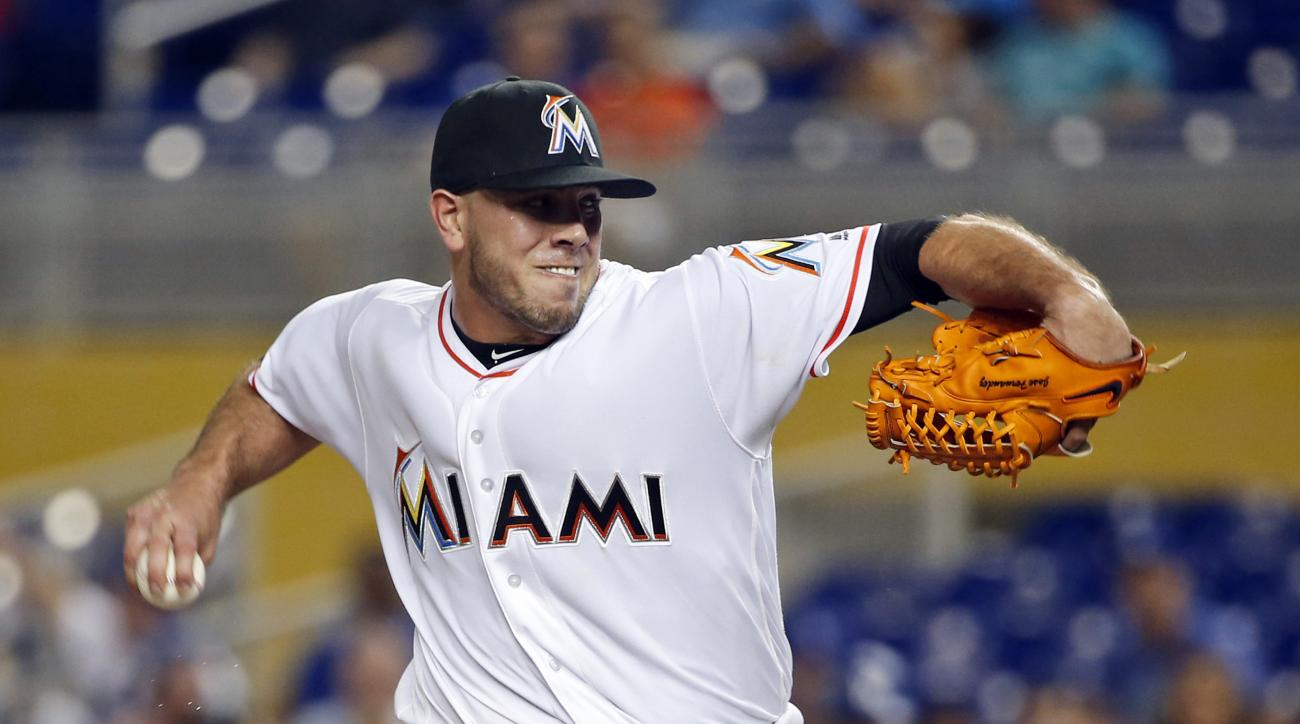 FILE - In this Friday, Sept. 9, 2016, file photo, Miami Marlins' Jose Fernandez pitches during the first inning of a baseball game against the Los Angeles Dodgers, in Miami. A search warrant affidavit says the bodies of Marlins pitcher Jose Fernandez and