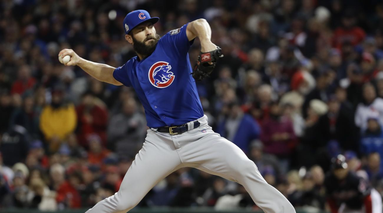 Chicago Cubs starting pitcher Jake Arrieta throws against the Cleveland Indians during the first inning of Game 2 of the Major League Baseball World Series Wednesday, Oct. 26, 2016, in Cleveland. (AP Photo/Matt Slocum)
