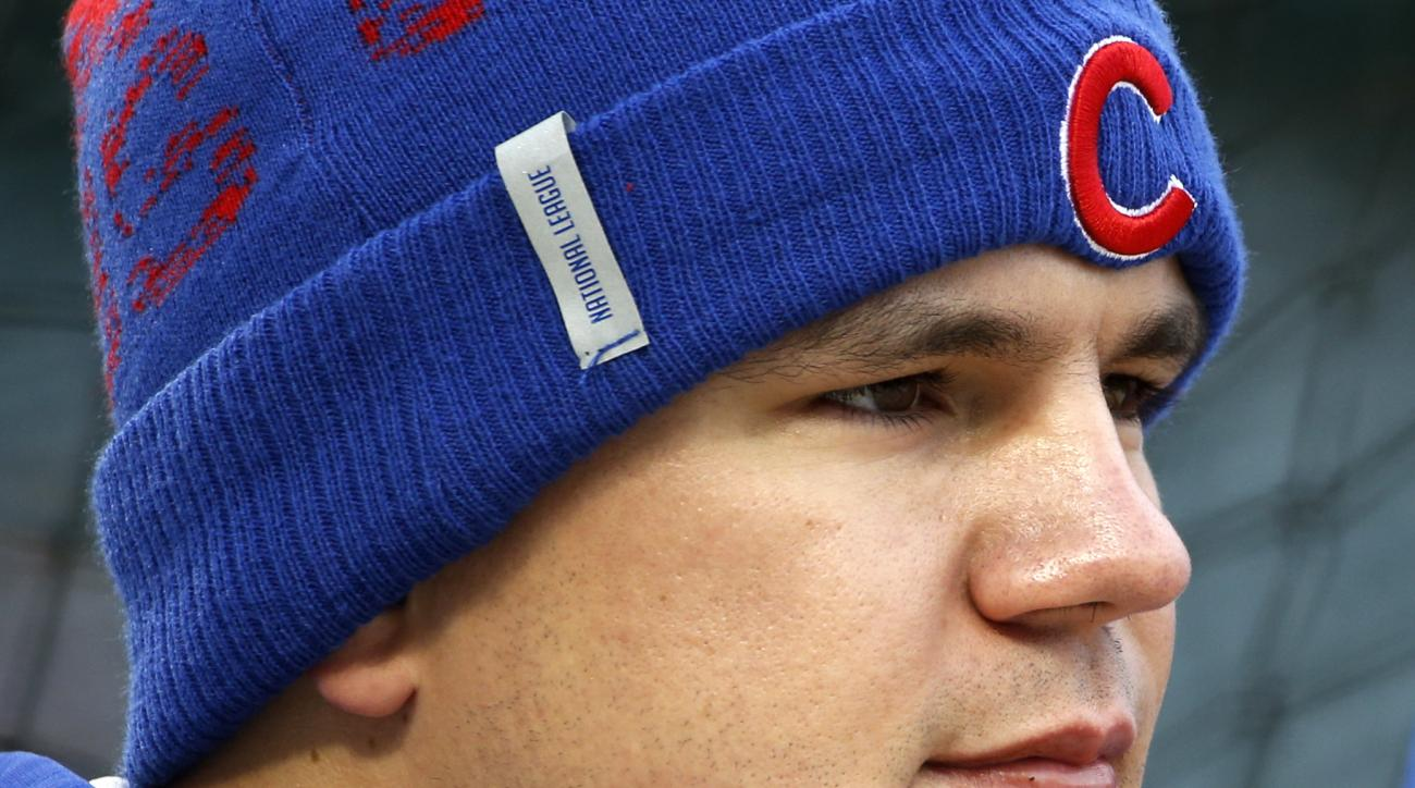 Chicago Cubs' Kyle Schwarber works out during batting practice for Friday's Game 3 of the Major League Baseball World Series against the Cleveland Indians, Thursday, Oct. 27, 2016, in Chicago. (AP Photo/Nam Y. Huh)