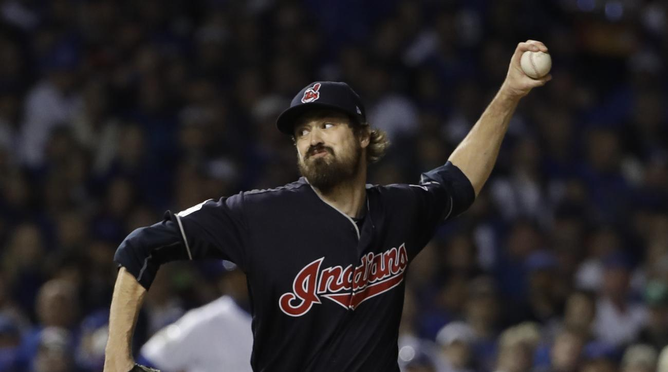 Cleveland Indians relief pitcher Andrew Miller throws during the sixth inning of Game 3 of the Major League Baseball World Series against the Chicago Cubs Friday, Oct. 28, 2016, in Chicago. (AP Photo/David J. Phillip)