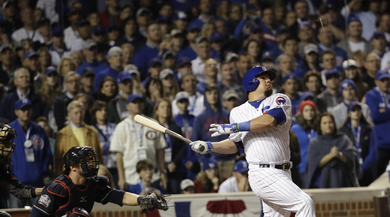 Chicago Cubs' Kyle Schwarber flies out during the eighth inning of Game 3 of the Major League Baseball World Series against the Cleveland Indians Friday, Oct. 28, 2016, in Chicago. (AP Photo/David J. Phillip)