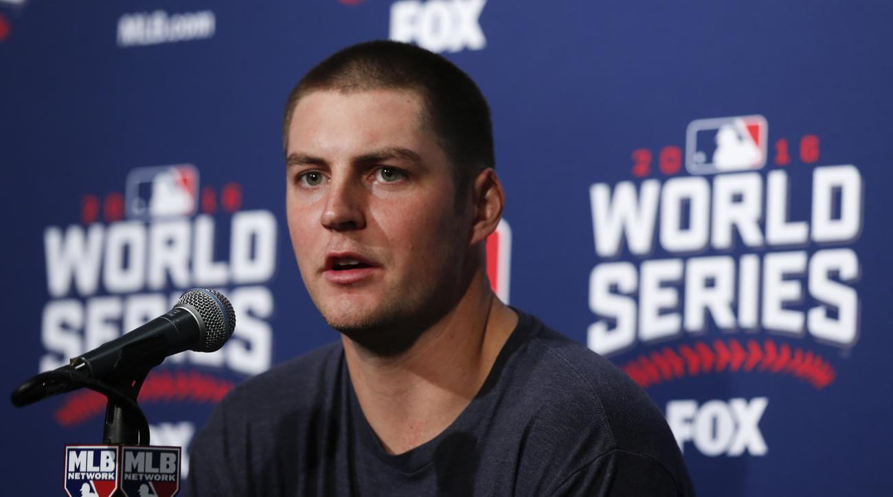 Cleveland Indians starting pitcher Trevor Bauer talks during a news conference before Game 4 of the Major League Baseball World Series against the Chicago Cubs Saturday, Oct. 29, 2016, in Chicago. (AP Photo/Charles Rex Arbogast)