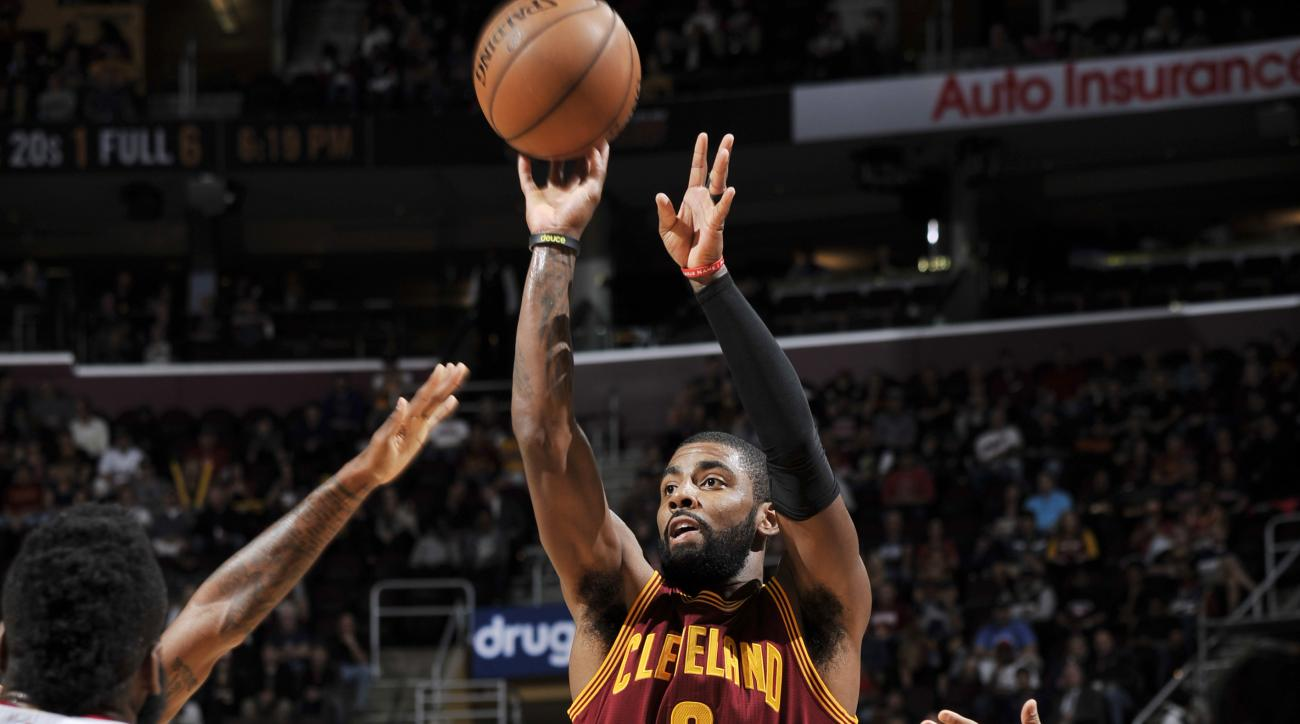 CLEVELAND, OH - NOVEMBER 1: Kyrie Irving #2 of the Cleveland Cavaliers shoots the ball against the Houston Rockets on November 1, 2016 at Quicken Loans Arena in Cleveland, Ohio.  (Photo by David Liam Kyle/NBAE via Getty Images)
