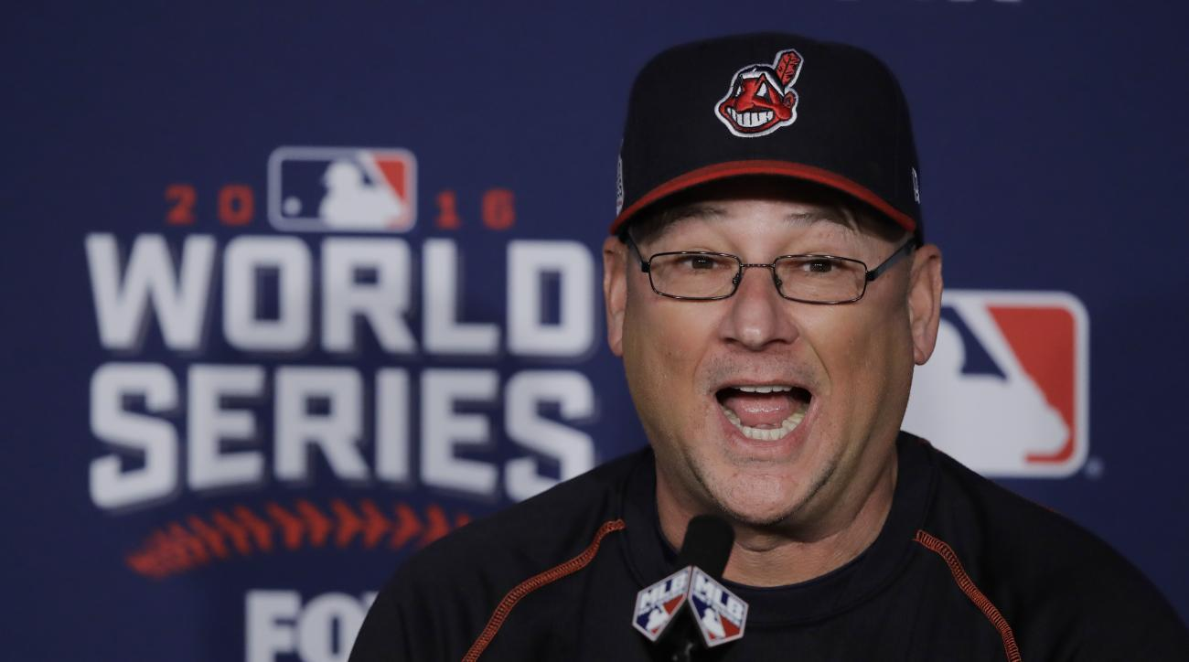 Cleveland Indians manager Terry Francona answers questions before Game 7 of the Major League Baseball World Series against the Chicago Cubs Wednesday, Nov. 2, 2016, in Cleveland. (AP Photo/Gene J. Puskar)