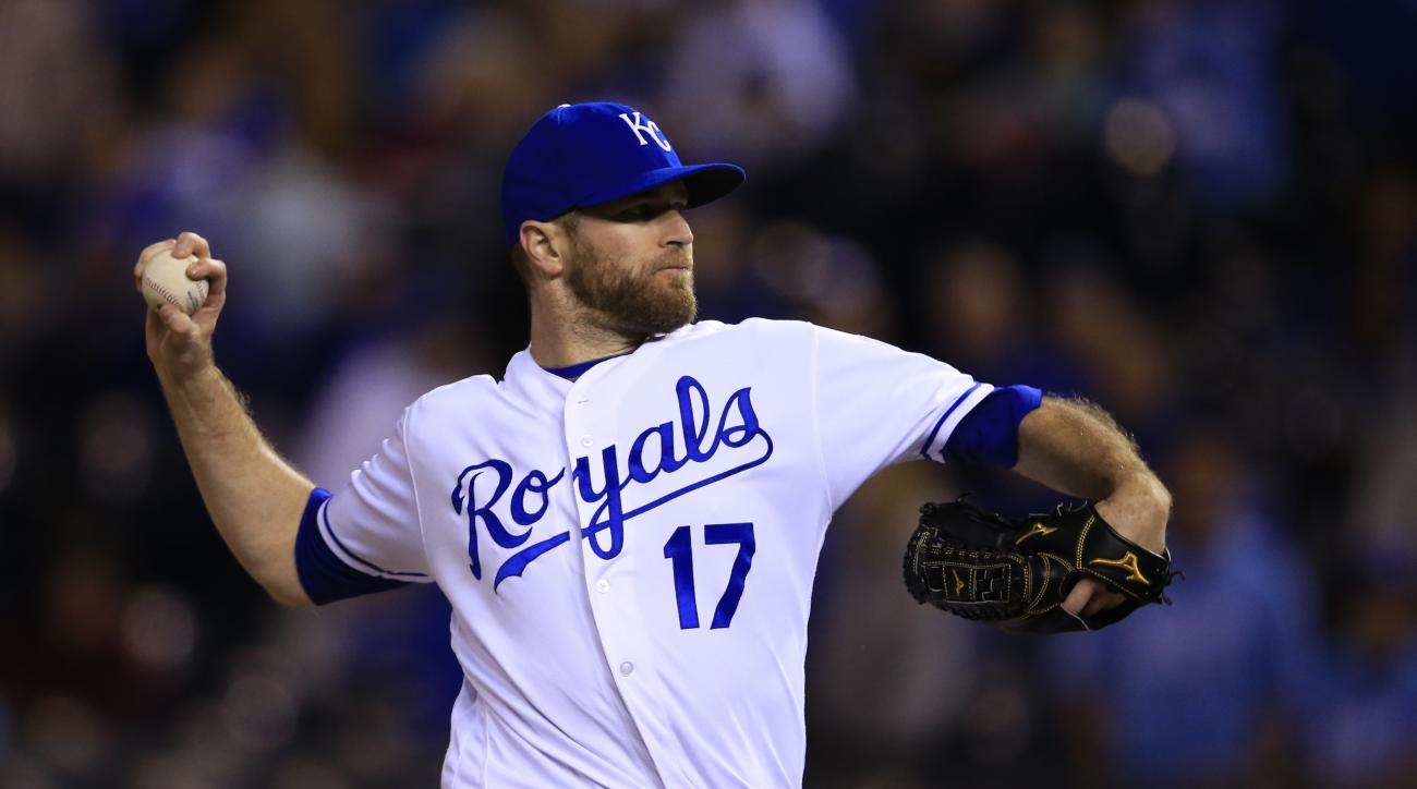 Kansas City Royals relief pitcher Wade Davis during a baseball game against the Minnesota Twins at Kauffman Stadium in Kansas City, Mo., Wednesday, Sept. 28, 2016. The Royals defeated the Twins 5-2. (AP Photo/Orlin Wagner)