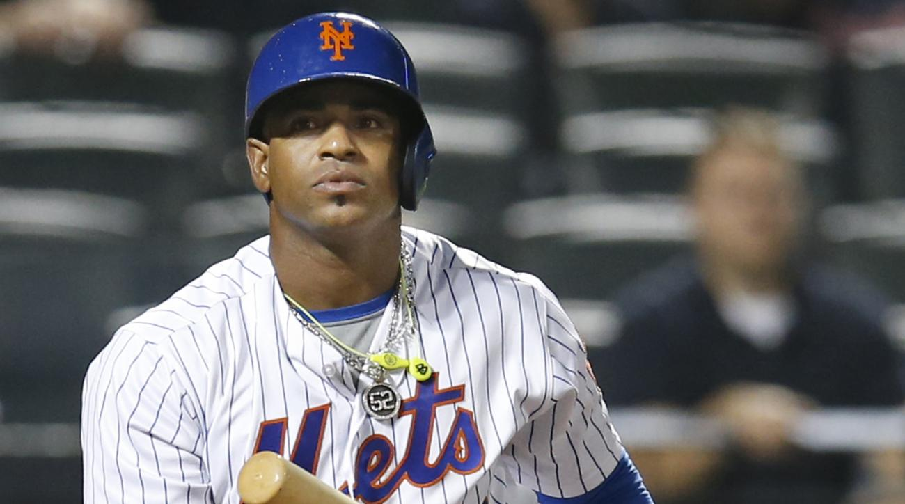FILE - In this Sept. 20, 2016, file photo, New York Mets' Yoenis Cespedes reacts after striking out swinging for the final out in the Mets' 5-4 loss to the Atlanta Braves in a baseball game in New York.  Cespdes is expected to opt out of the remainder of