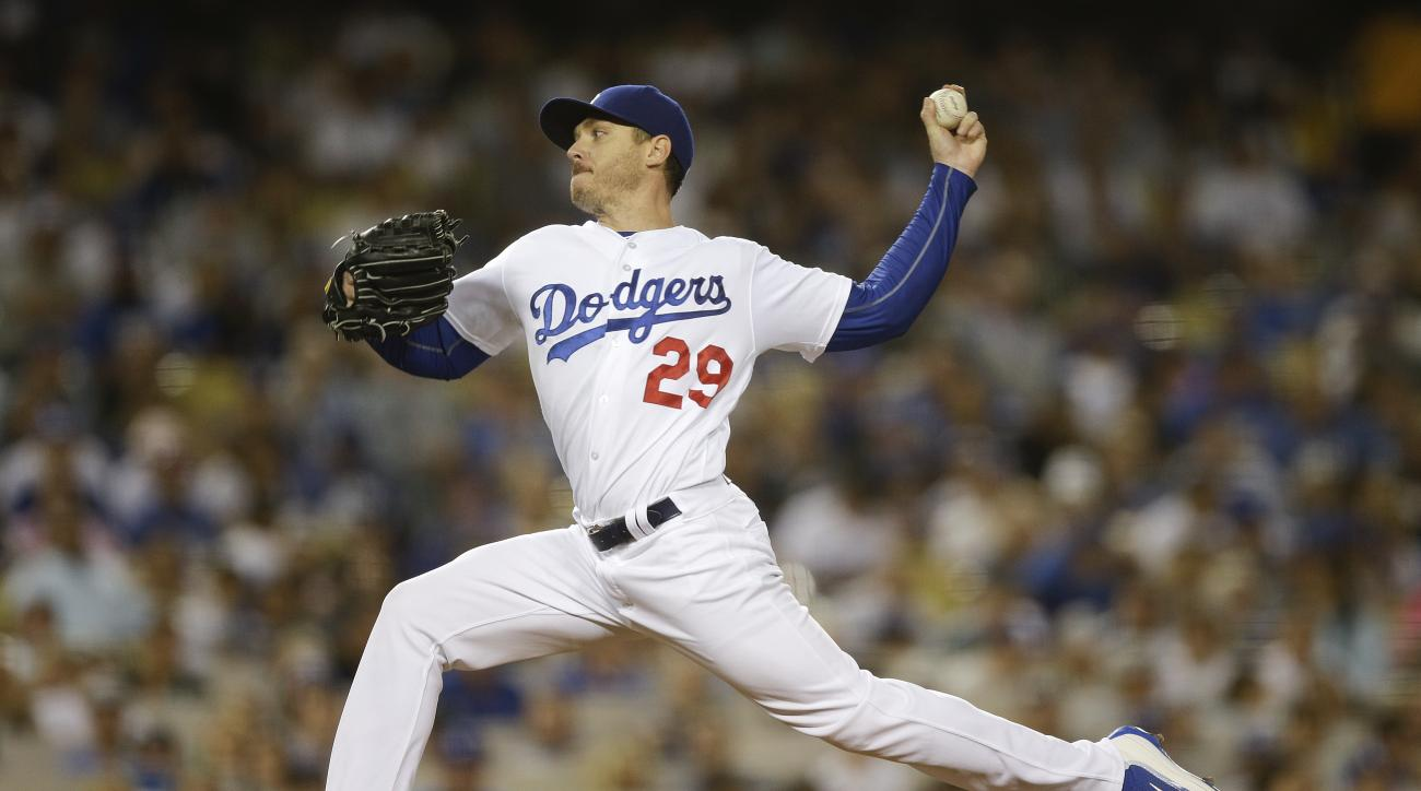 Los Angeles Dodgers starting pitcher Scott Kazmir throws against the Colorado Rockies during the first inning of a baseball game, Friday, Sept. 23, 2016, in Los Angeles. (AP Photo/Jae C. Hong)