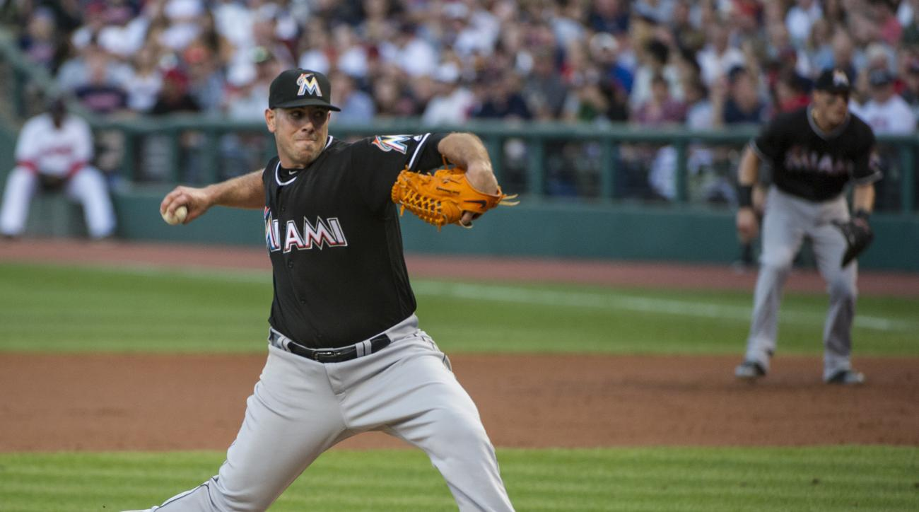 FILE - In this Sept. 3, 2016, file photo, Miami Marlins starting pitcher Jose Fernandez delivers to a Cleveland Indians batter during a baseball game in Cleveland. Fernandez, who died in a boating accident in September, was voted the NL comeback player of