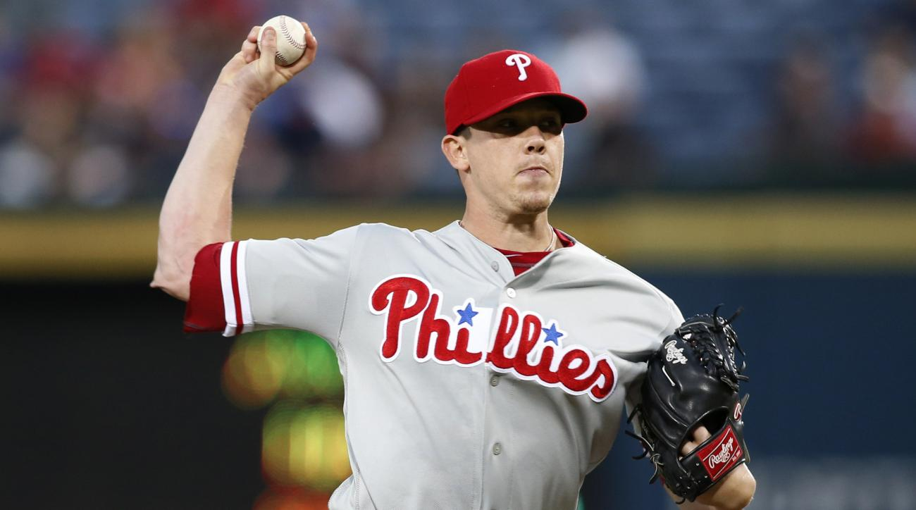 FILE This Sept. 29, 2016 file photo shows Philadelphia Phillies starting pitcher Jeremy Hellickson working during the first inning of a baseball game against the Atlanta Braves in Atlanta. Hellickson has accepted a $17.2 million qualifying offer, Monday,