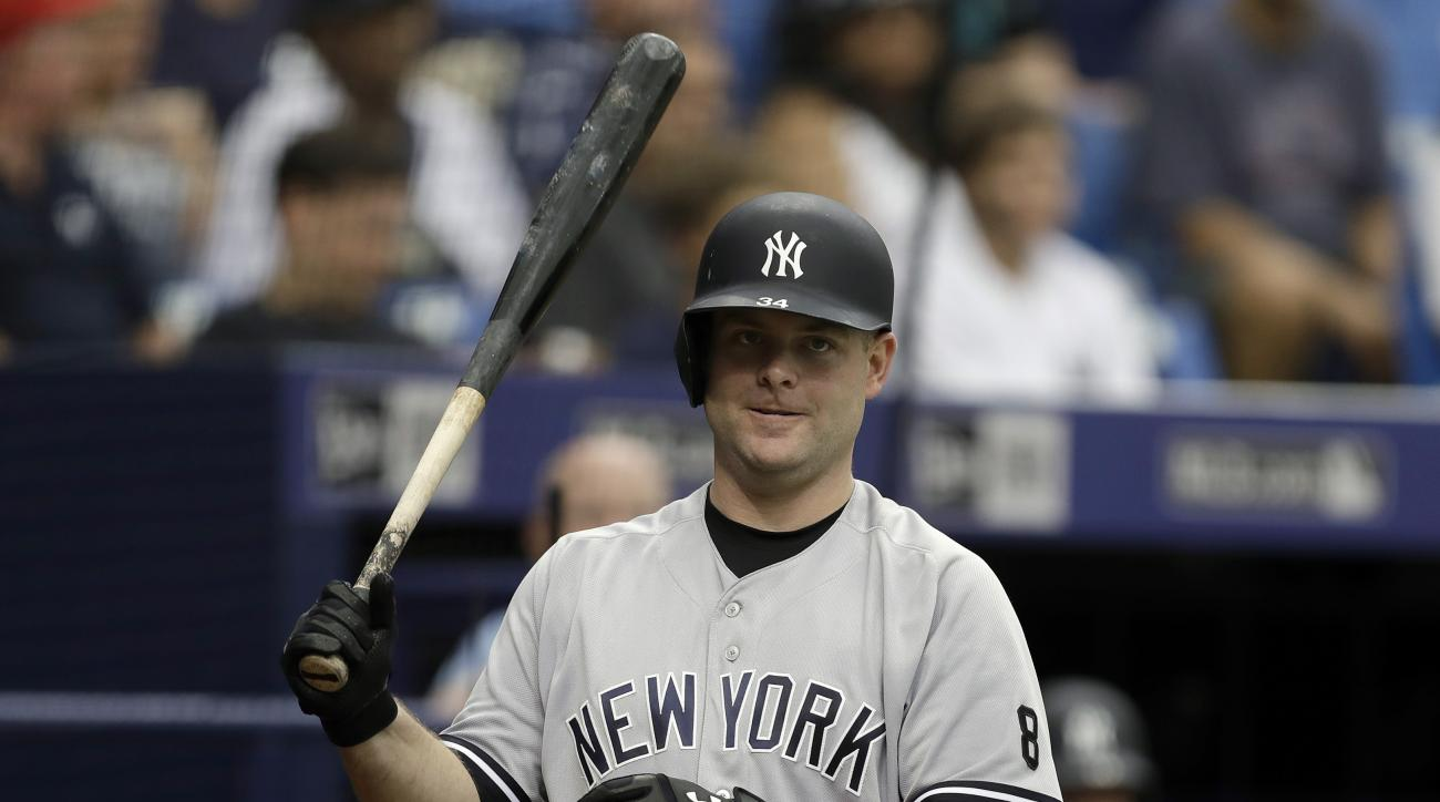 New York Yankees' Brian McCann in the on-deck circle during the first inning of a baseball game against the Tampa Bay Rays Sunday, July 31, 2016, in St. Petersburg, Fla.  (AP Photo/Chris O'Meara)