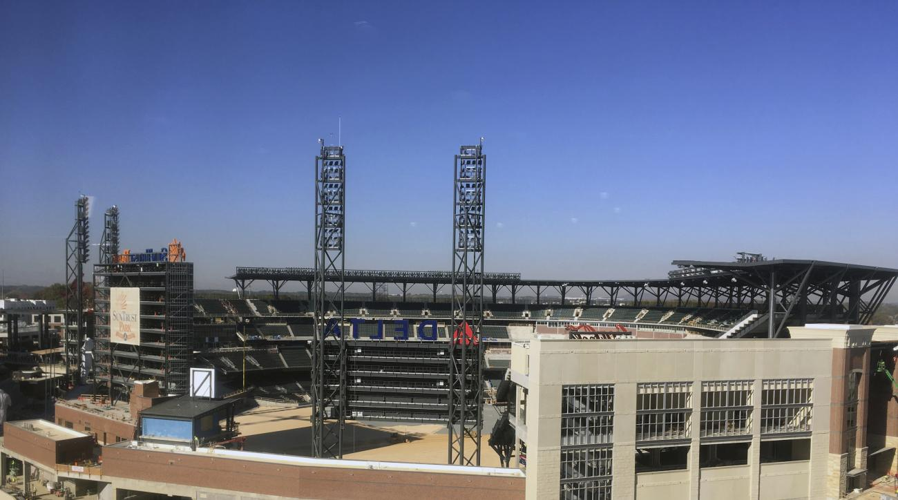 This is a view of SunTrust Park, future home of the Atlanta Braves baseball team, under construction in Atlanta, Friday, Nov. 18, 2016. (AP Photo/Paul Newberry)