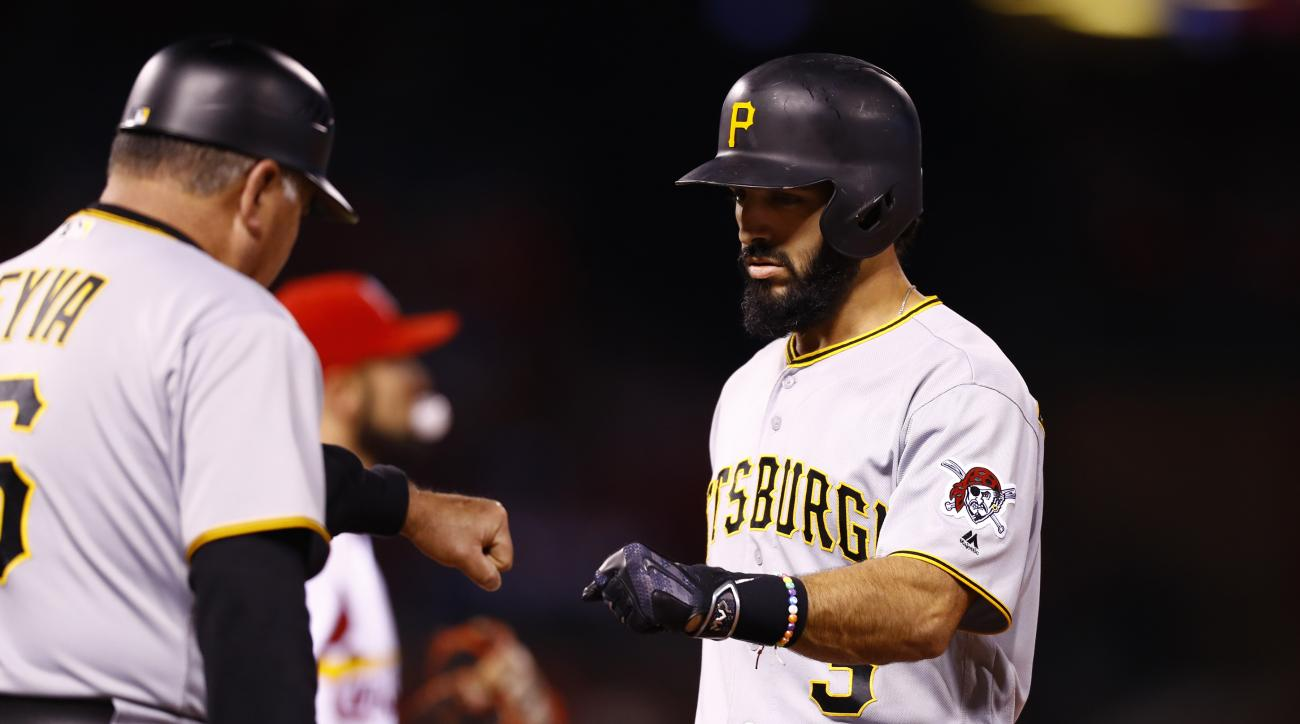 Pittsburgh Pirates' Sean Rodriguez, right, is congratulated by first base coach Nick Leyva during a baseball game against the St. Louis Cardinals, Friday, Sept. 30, 2016, in St. Louis. (AP Photo/Billy Hurst)