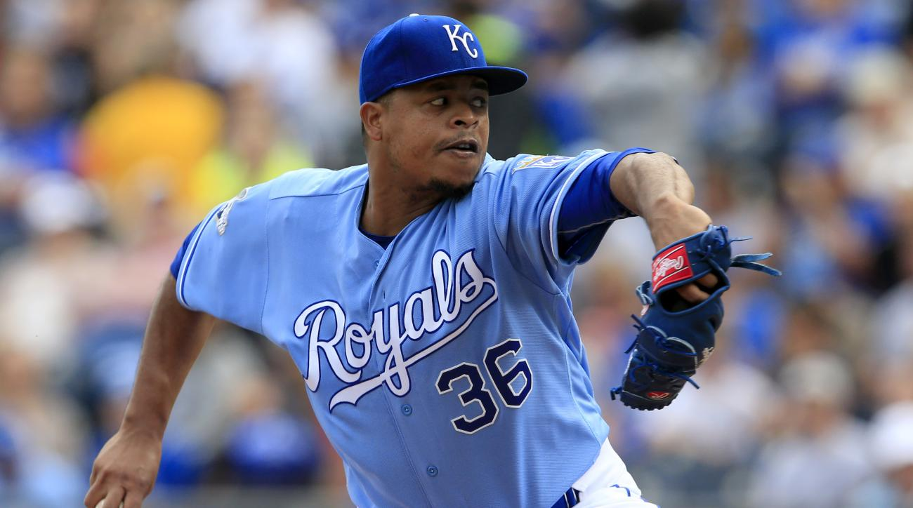 Kansas City Royals starting pitcher Edinson Volquez delivers to a Cleveland Indians batter during the first inning of a baseball game at Kauffman Stadium in Kansas City, Mo., Saturday, Oct. 1, 2016. (AP Photo/Orlin Wagner)