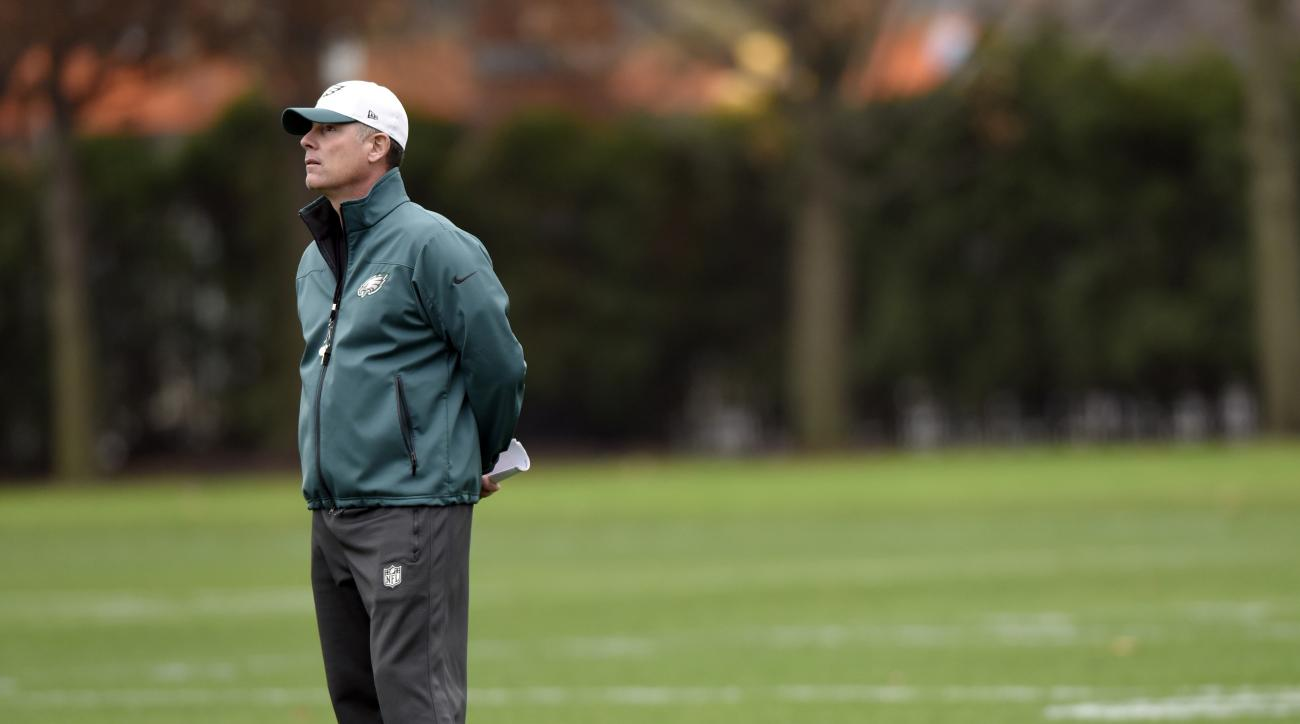 Philadelphia Eagles interim head coach Pat Shurmur watches during NFL football practice, Wednesday, Dec. 30, 2015, in Philadelphia. The Eagles fired head coach Chip Kelly with one game left in his third season. (AP Photo/Michael Perez)