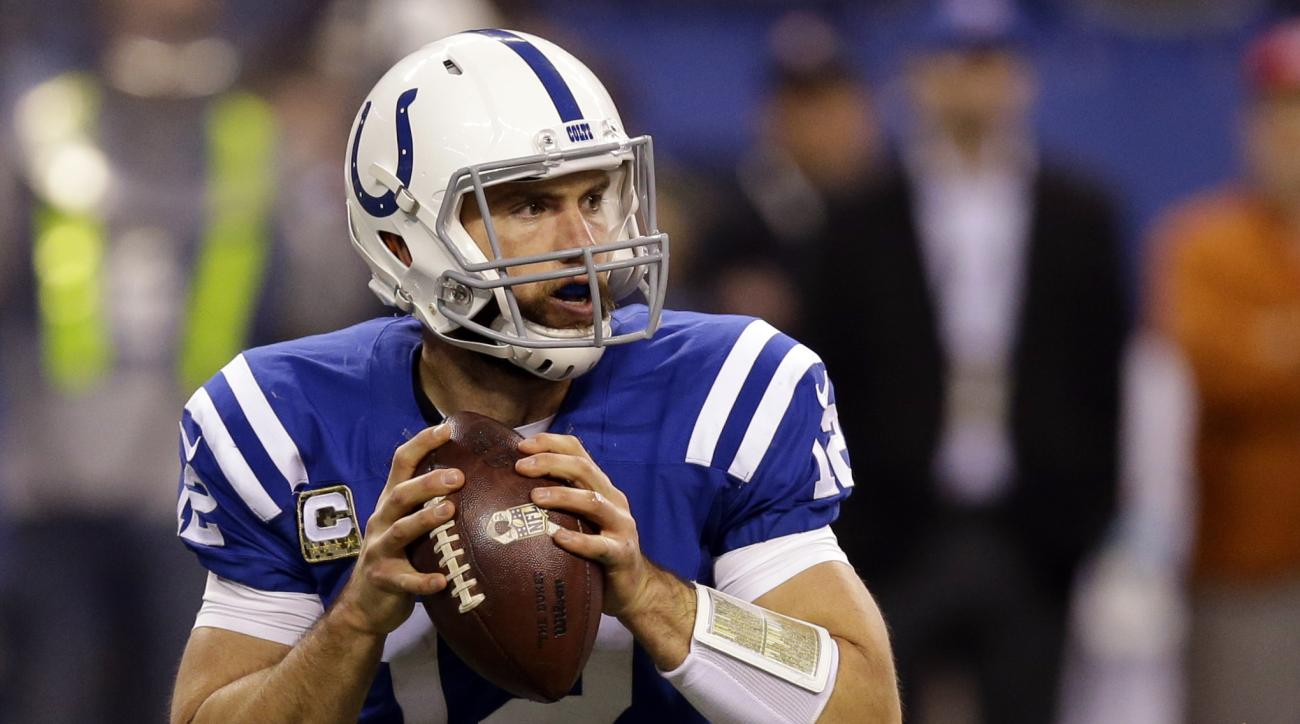 FILE - In this Nov. 8, 2015, file photo, Indianapolis Colts' Andrew Luck (12) looks to throw during the second half of an NFL football game against the Denver Broncos in Indianapolis. Owners will tread lightly with running backs after the rash of injuries