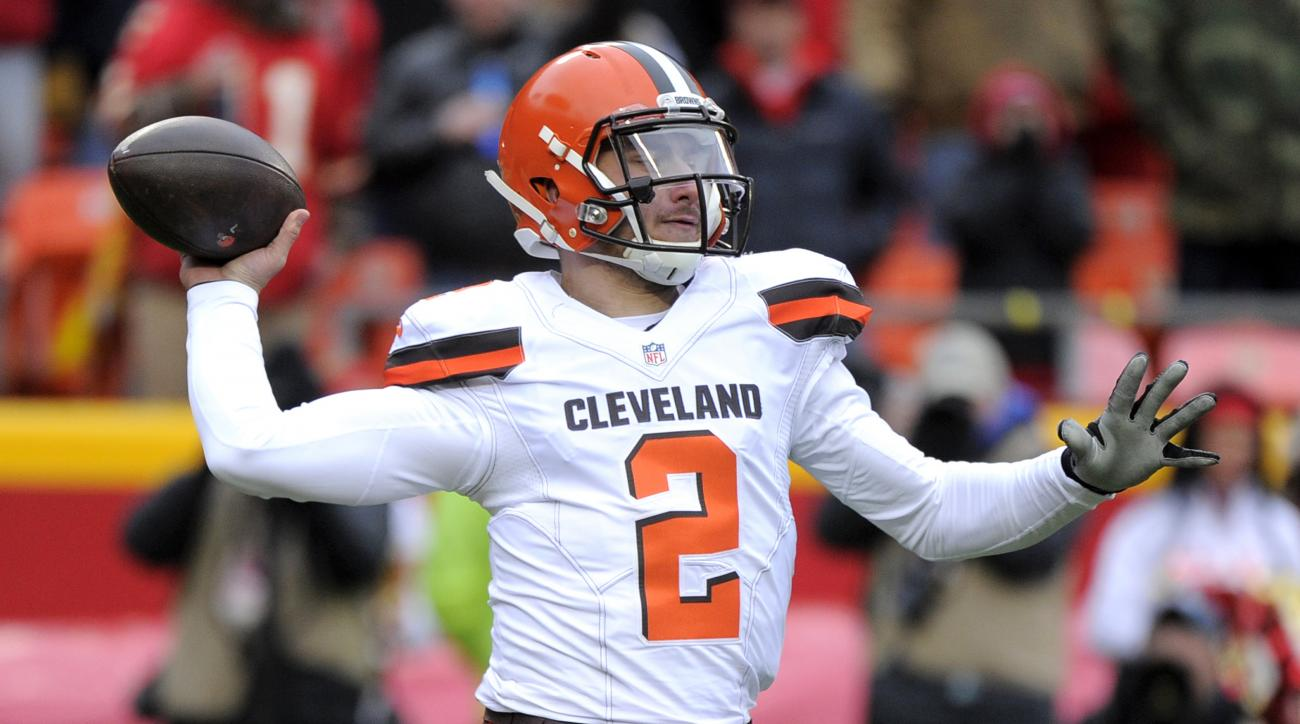 FILE - In this Dec. 27, 2015, file photo, Cleveland Browns quarterback Johnny Manziel (2) throws during the first half of an NFL football game against the Kansas City Chiefs in Kansas City, Mo. The Browns are not commenting on a report that Manziel went t