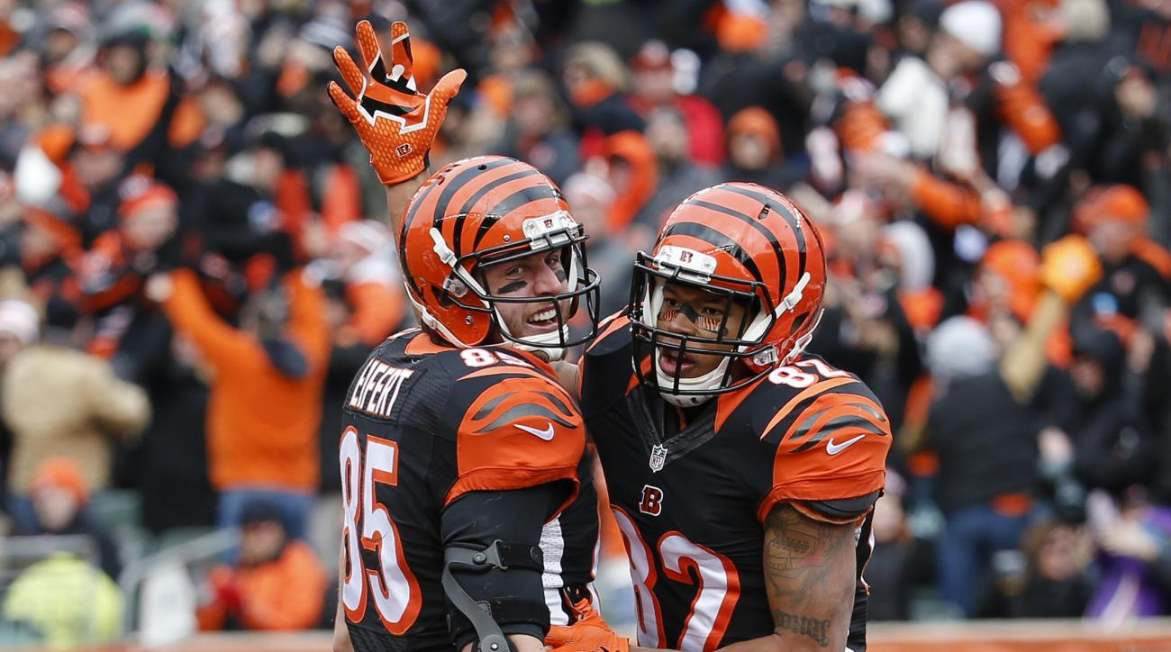 Cincinnati Bengals tight end Tyler Eifert (85) celebrates scoring a touchdown with wide receiver Marvin Jones (82) in the first half of an NFL football game against the Baltimore Ravens, Sunday, Jan. 3, 2016, in Cincinnati. (AP Photo/Frank Victores)