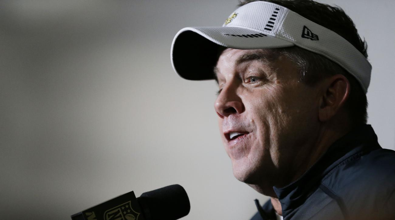 New Orleans Saints head coach Sean Payton speaks at a news conference after the second half of an NFL football game against the Atlanta Falcons, Sunday, Jan. 3, 2016, in Atlanta. The New Orleans Saints won 20-17. (AP Photo/David Goldman)