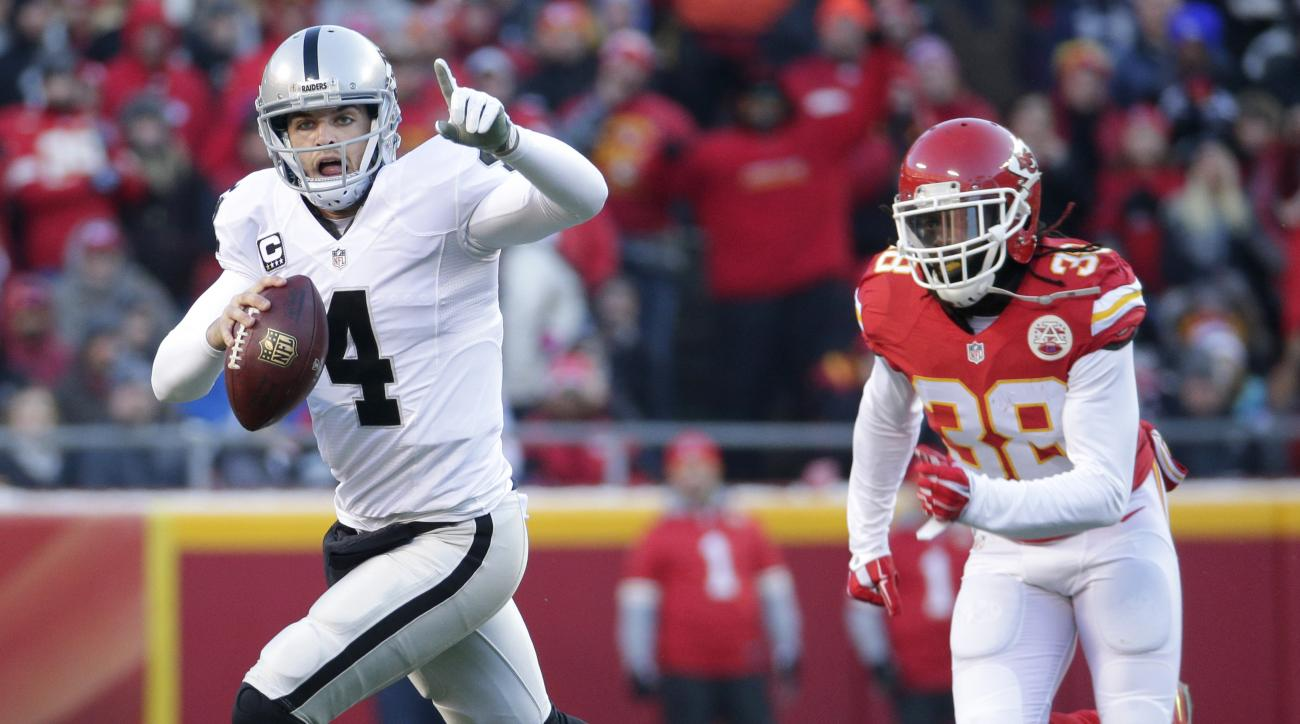 Oakland Raiders quarterback Derek Carr (4) runs away from Kansas City Chiefs safety Ron Parker (38) during the first half of an NFL football game in Kansas City, Mo., Sunday, Jan. 3, 2016. (AP Photo/Charlie Riedel)