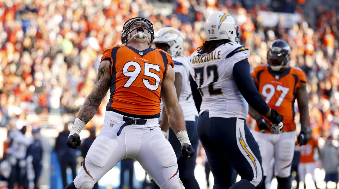 Denver Broncos defensive end Derek Wolfe celebrates after sacking San Diego Chargers quarterback Philip Rivers during the first half in an NFL football game, Sunday, Jan. 3, 2016, in Denver. (AP Photo/Jack Dempsey)