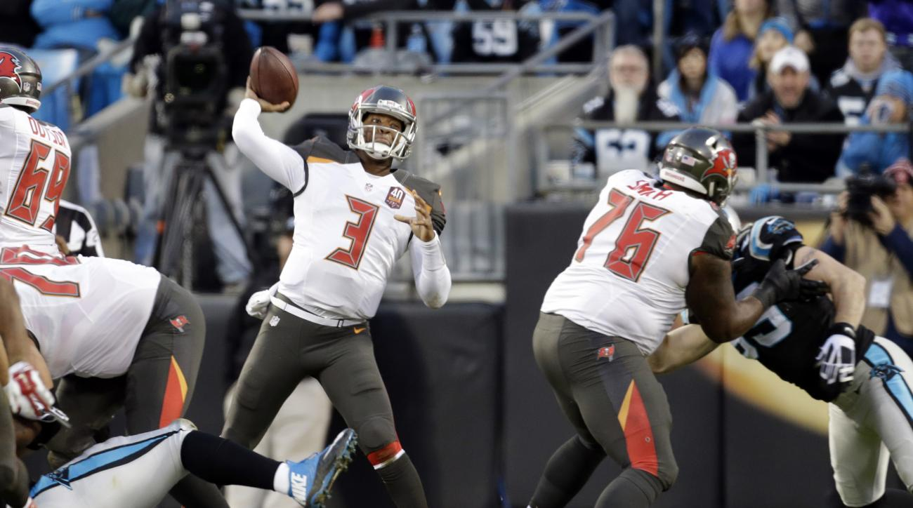 Tampa Bay Buccaneers quarterback Jameis Winston (3) looks to pass against the Carolina Panthers in the first half of an NFL football game in Charlotte, N.C., Sunday, Jan. 3, 2016. (AP Photo/Bob Leverone)