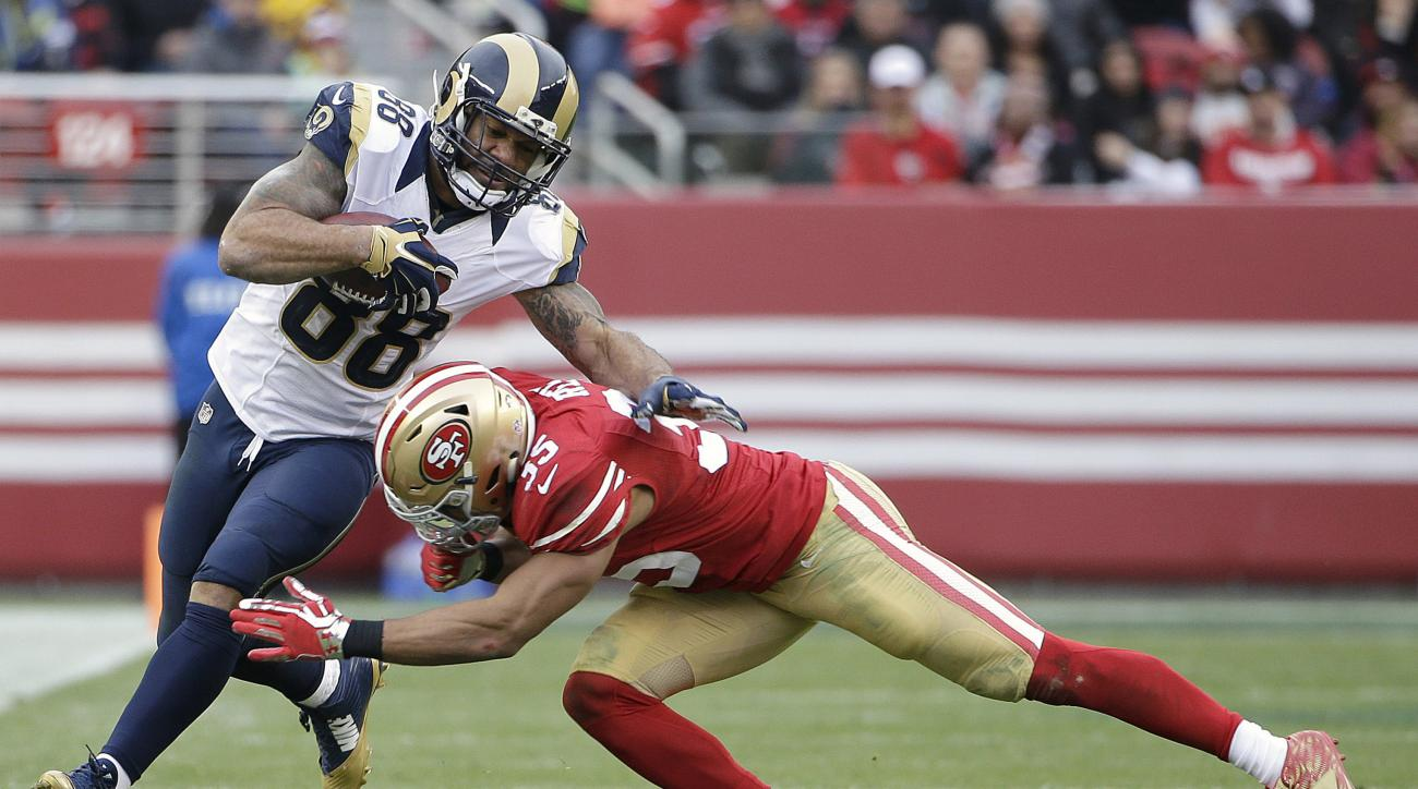 St. Louis Rams tight end Lance Kendricks (88) is tackled by San Francisco 49ers safety Eric Reid (35) during the second half of an NFL football game in Santa Clara, Calif., Sunday, Jan. 3, 2016. (AP Photo/Marcio Jose Sanchez)