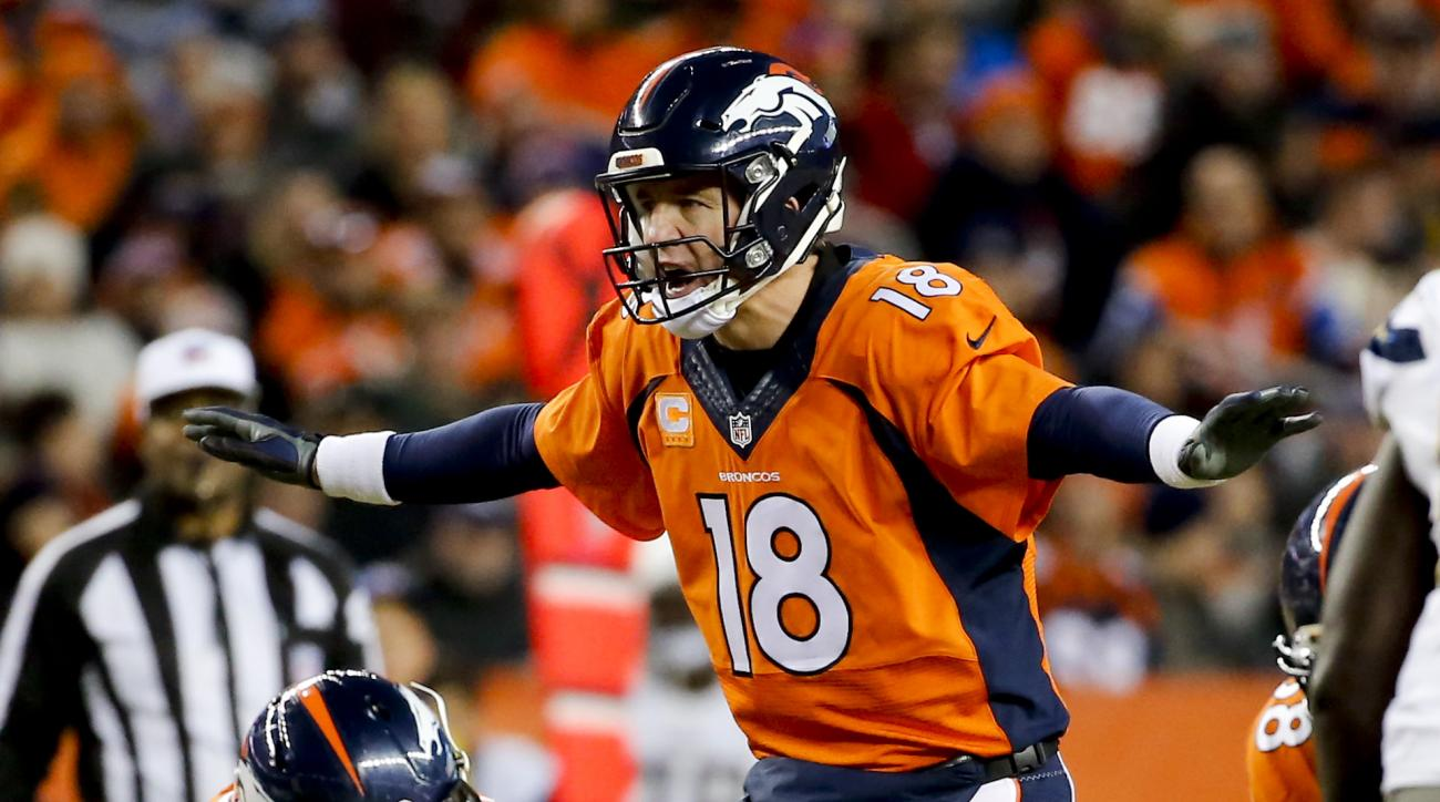 Denver Broncos quarterback Peyton Manning yells to his team during the second half in an NFL football game against the San Diego Chargers, Sunday, Jan. 3, 2016, in Denver. (AP Photo/Jack Dempsey)
