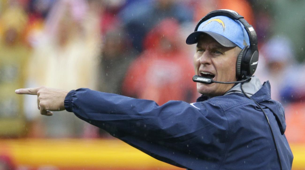 FILE - In this Dec. 13, 2015, file photo, San Diego Chargers head coach Mike McCoy shouts during the first half of an NFL football game against the Kansas City Chiefs in Kansas City, Mo.  McCoy says he will return as coach of the Chargers despite a 4-12 r