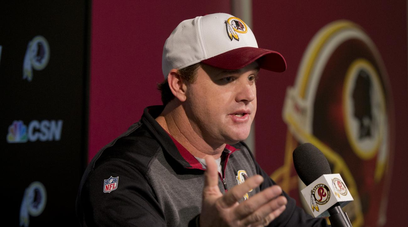 Washington Redskins head coach Jay Gruden, speaks to reporters during a news conference at the Redskins Park in Ashburn, Va., Monday, Jan. 4, 2016. If the Washington Redskins are going to win a playoff game for the first time in a decade, they'll need to