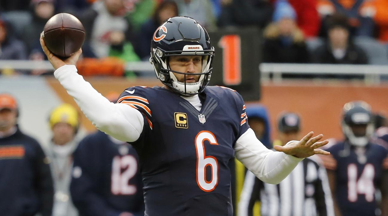 FILE - In this Jan. 3, 2016, file photo, Chicago Bears quarterback Jay Cutler throws a pass against the Detroit Lions in an NFL football game in Chicago. The Bears have a big job ahead of them after a last-place finish in the NFC North at 6-10. With or wi