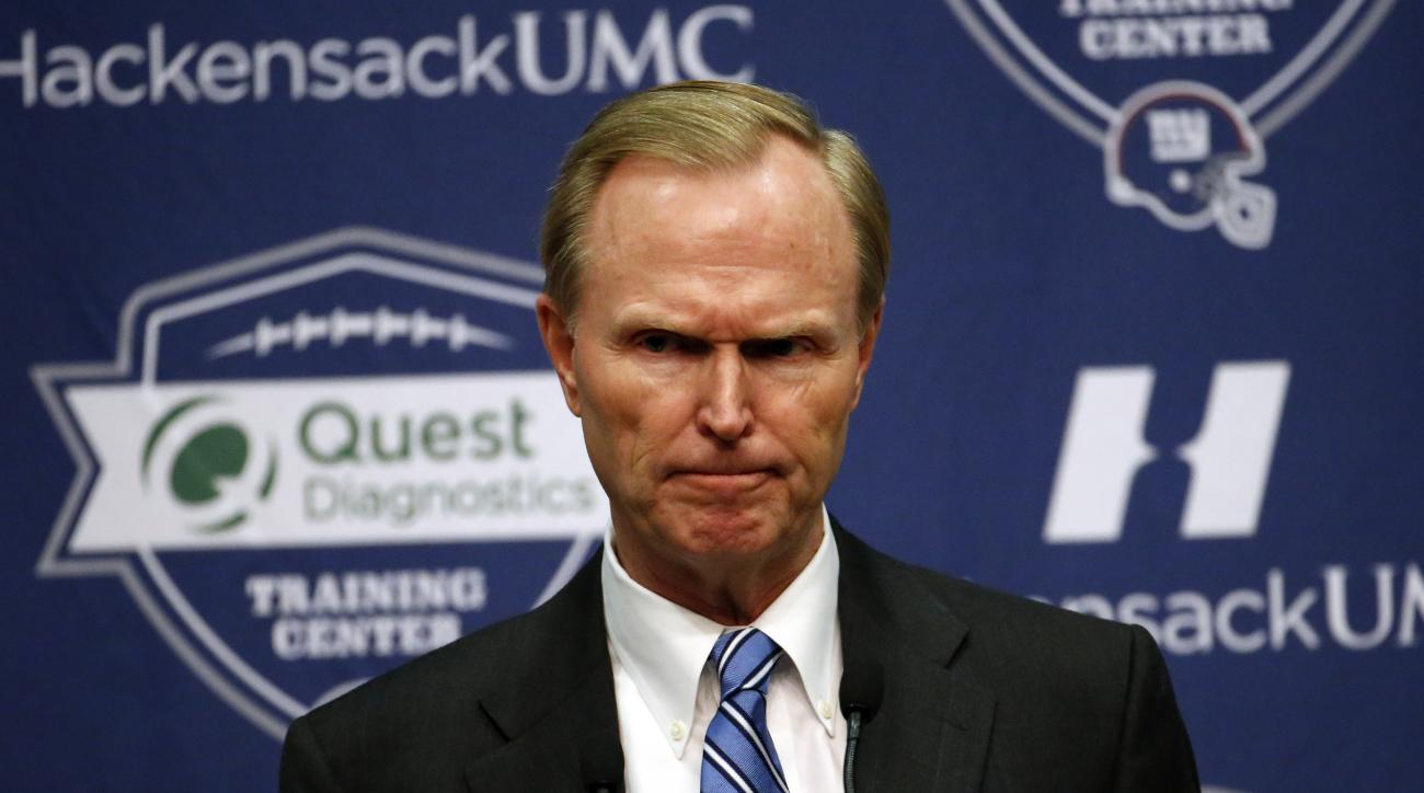 New York Giants owner John Mara speaks during a news conference, about Tom Coughlin stepping down as head coach of the team, Tuesday, Jan. 5, 2016, in East Rutherford, N.J. (AP Photo/Julio Cortez)