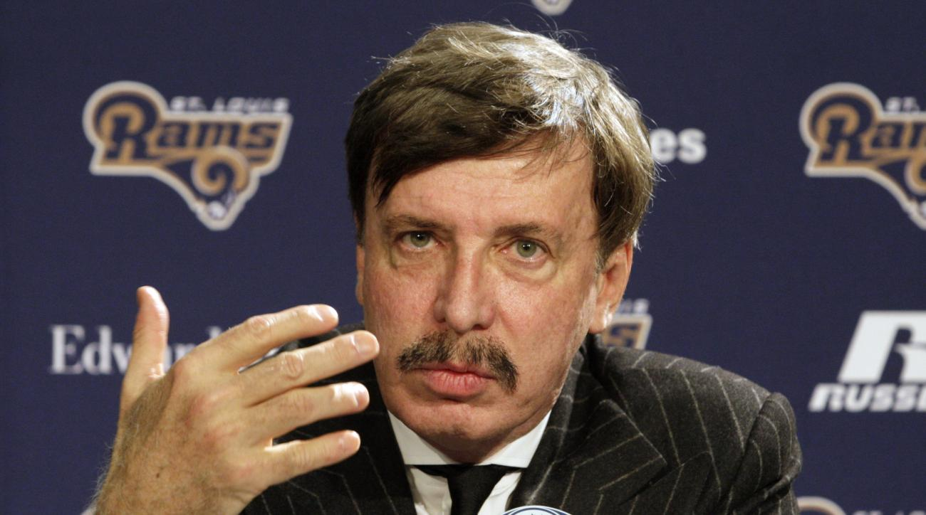 FILE - In this Jan. 17, 2012, file photo, St. Louis Rams team owner Stan Kroenke speaks at the press conference in St. Louis. The Rams' relocation application says the NFL would benefit from the team's move to Los Angeles, leaving behind a lagging St. Lou