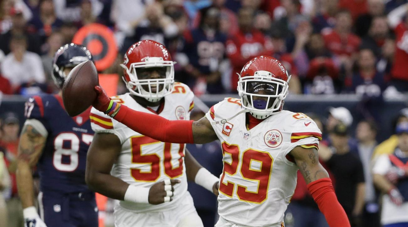 Kansas City Chiefs free safety Eric Berry (29) celebrates his interception against the Houston Texans during the first half of an NFL wild-card football game Saturday, Jan. 9, 2016, in Houston. (AP Photo/Tony Gutierrez)