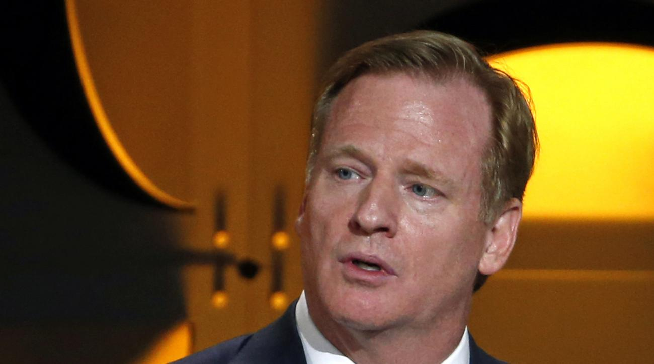 "FILE - In this Aug. 6, 2015, file photo, National Football League commissioner Roger Goodell addresses the Pro Football Hall of Fame Gold Jacket Ceremony in Canton, Ohio. Goodell says the existing stadiums in St. Louis, San Diego and Oakland are ""inadequa"