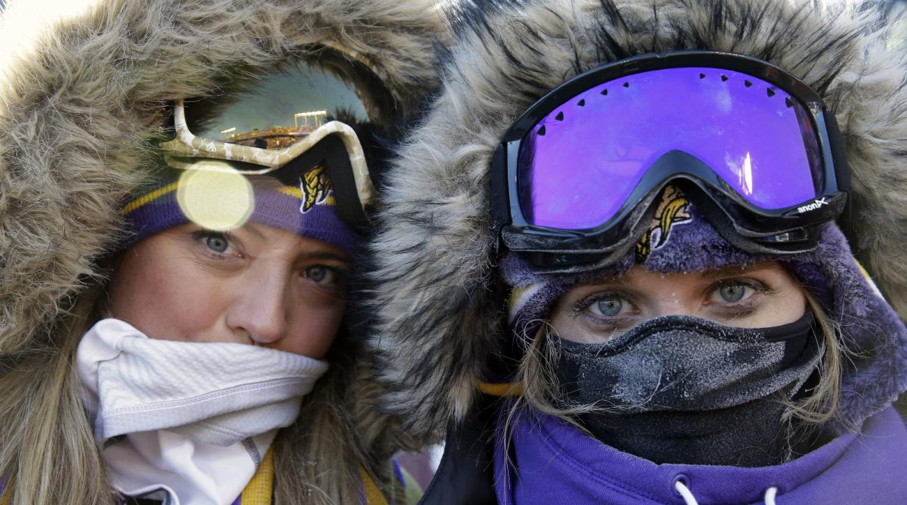 Fans bundle up before an NFL wild-card football game between the Minnesota Vikings and the Seattle Seahawks, Sunday, Jan. 10, 2016, in Minneapolis. (AP Photo/Nam Y. Huh)