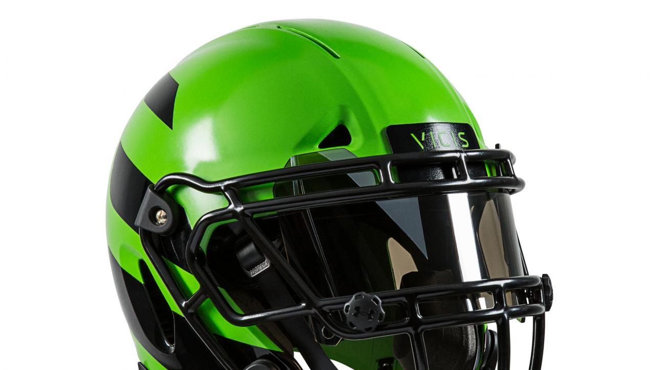 This undated photo provided by VICIS, shows there ZERO1 football helmet. The helmet, unveiled recently by the Seattle-based company,  has an exterior shell that can absorb hits like a car bumper and has four layers of protection. (VICIS via AP) NO SALES