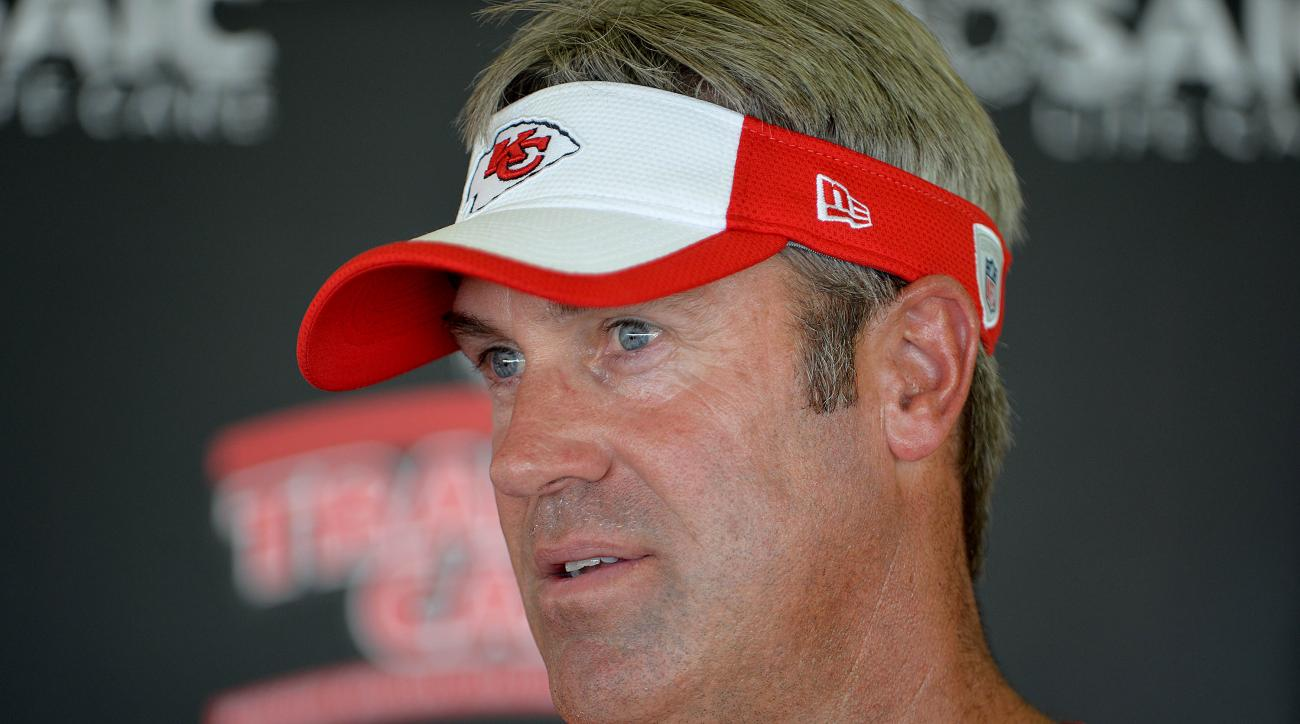 FILE - In this Aug. 2, 2015, file photo, Kansas City Chiefs offensive coordinator Doug Pederson addresses members of the media during NFL football training camp practice, in St. Joseph, Mo. Chiefs offensive coordinator Doug Pederson believes his interview