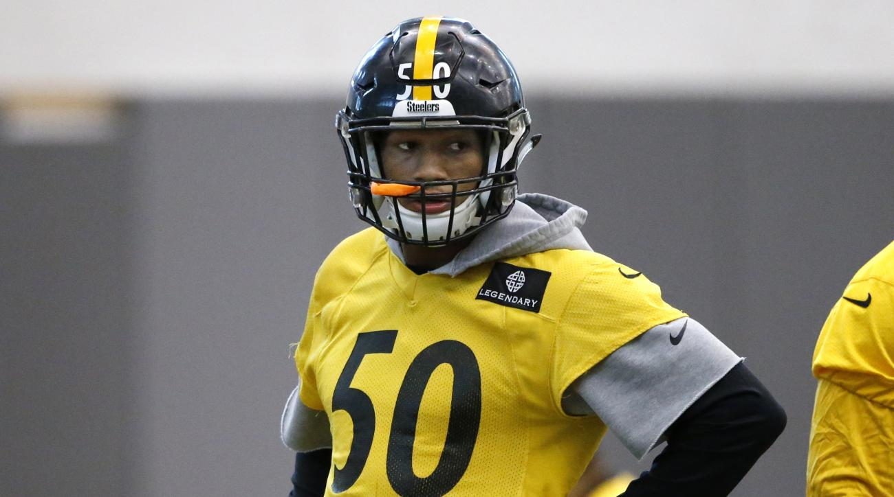 Pittsburgh Steelers linebacker Ryan Shazier (50) waits to run a drill during an NFL football practice, in Pittsburgh, Wednesday, Jan. 14, 2016. The Steelers face the Denver Broncos in an NFL Divisional playoff football game in Denver on Sunday. Harrison h