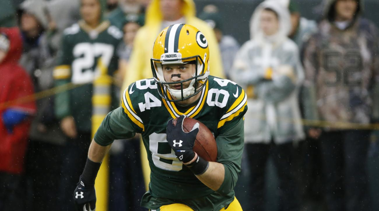 FILE - In this Dec. 13, 2015, file photo, Green Bay Packers' Jared Abbrederis warms up before an NFL football game against the Dallas Cowboys, in Green Bay, Wis. (AP Photo/Mike Roemer, File)