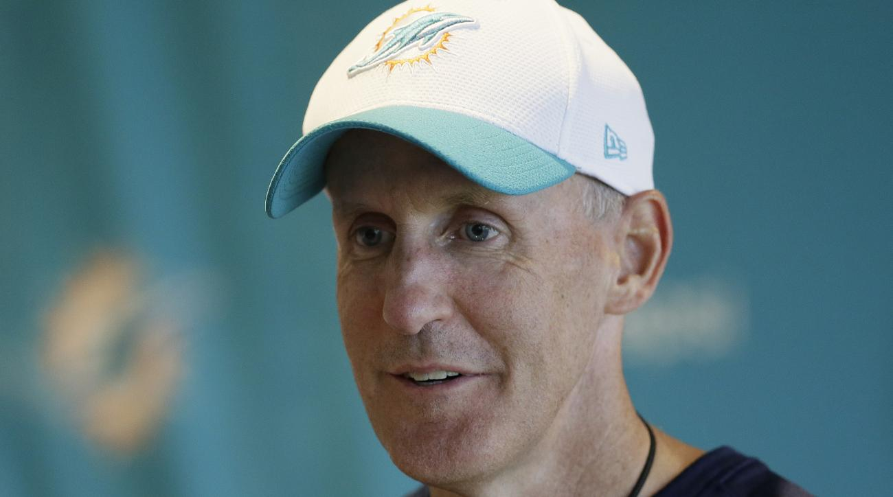 Miami Dolphins head coach Joe Philbin smiles during a press conference at Allianz Park in London, Friday Oct. 2, 2015. The Dolphins are preparing for an NFL football game against the New York Jets at London's Wembley stadium on Sunday. (AP Photo/Tim Irela