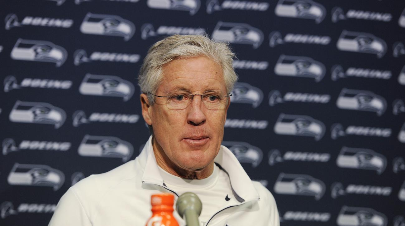 Seattle Seahawks head coach Pete Carroll speaks to the media during a news conference after the second half of an NFL divisional playoff football game against the Carolina Panthers, Sunday, Jan. 17, 2016, in Charlotte, N.C. The Panthers won 31-24. (AP Pho