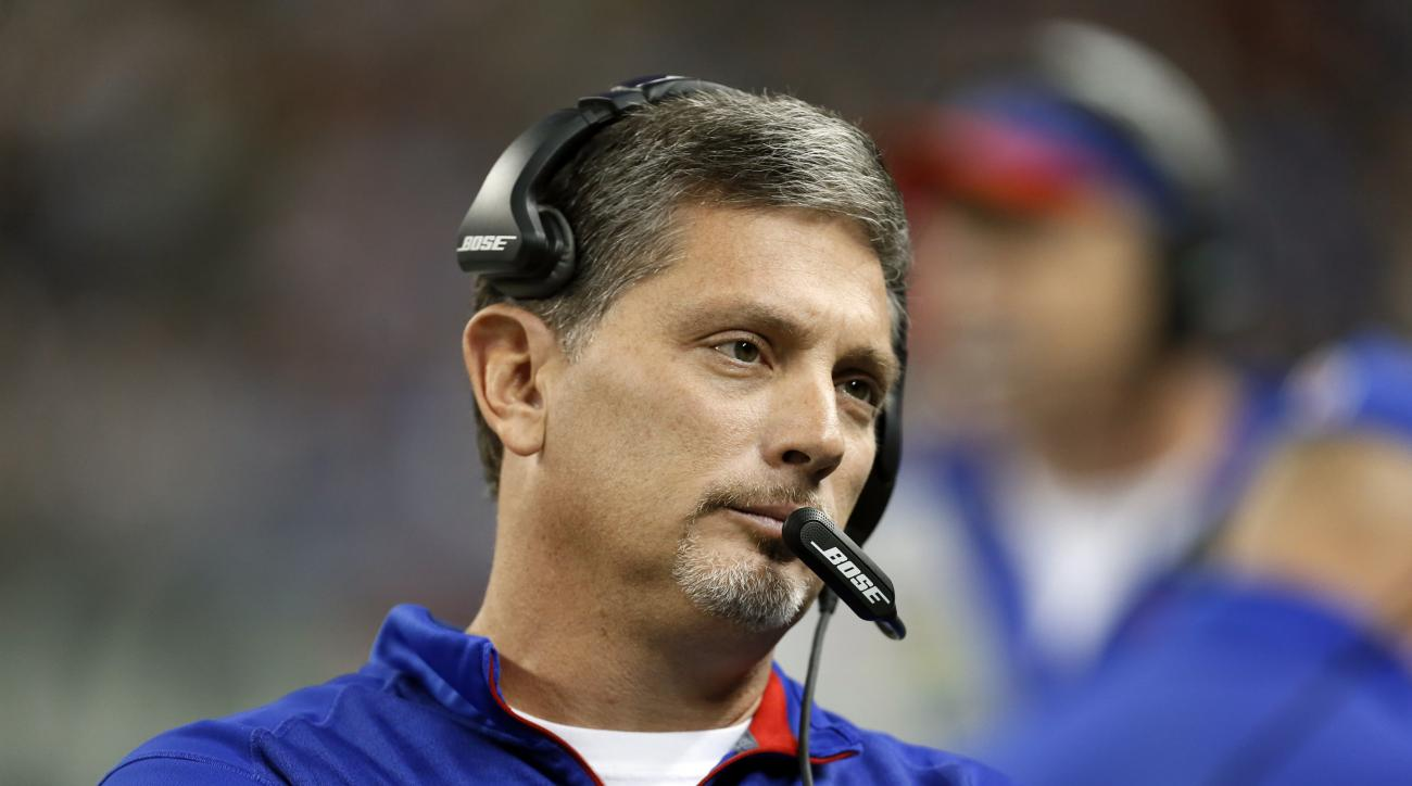 Buffalo Bills defensive coordinator Jim Schwartz watches  during the first half of an NFL football game against the New York Jets in Detroit, Monday, Nov. 24, 2014. (AP Photo/Paul Sancya)