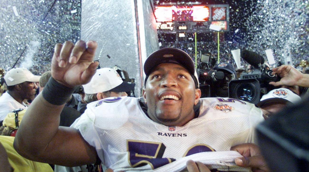 FILE - In this Jan. 28, 2001, file photo, Baltimore Ravens linebacker Ray Lewis smiles after defeating the New York Giants 34-7 and being named the MVP of Super Bowl XXXV in Tampa, Fla. The Ravens, led by Lewis and one of the great defenses in NFL history