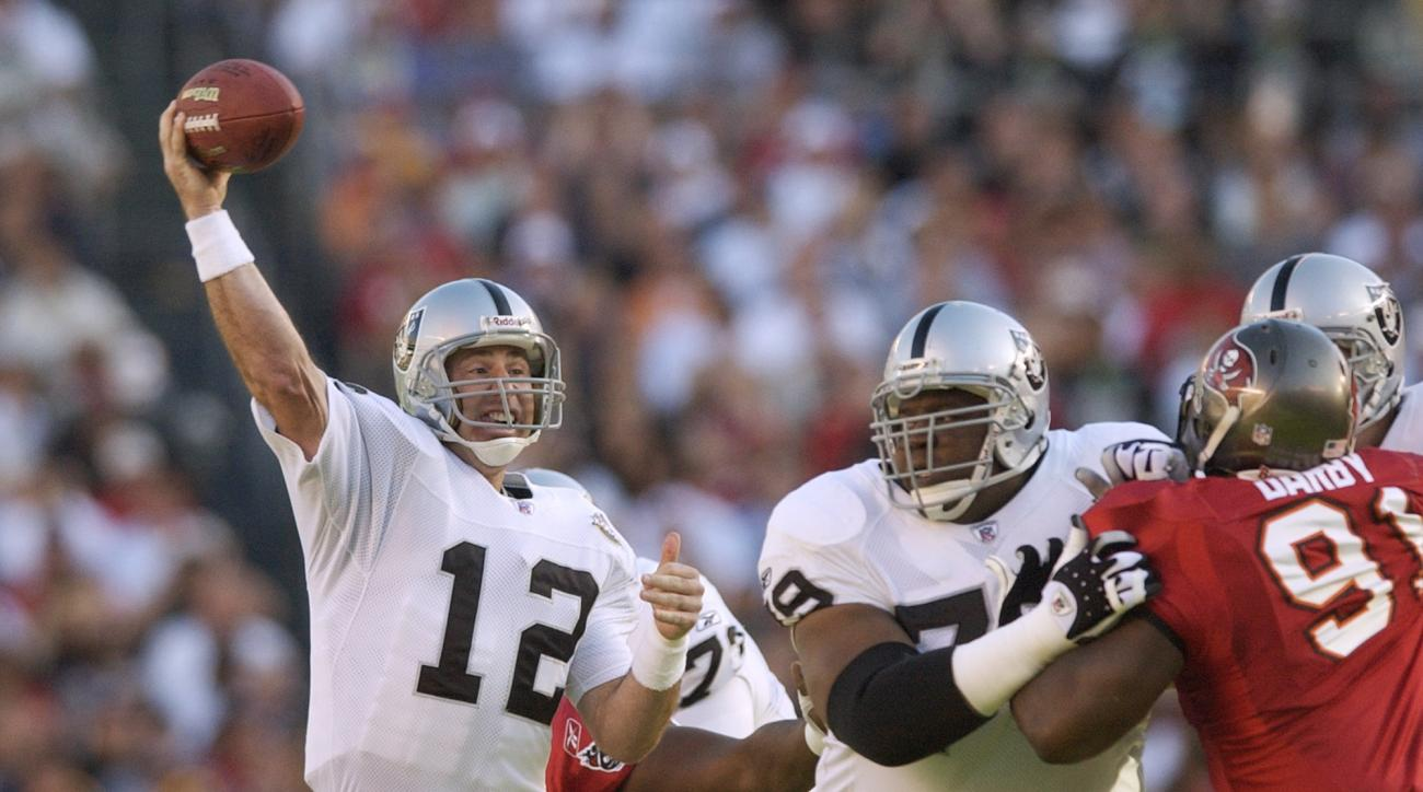 FILE - In this Jan. 26, 2003, file photo, Oakland Raiders quarterback Rich Gannon (12) passes in the first quarter against the Tampa Bay Buccaneers in Super Bowl XXXVII in San Diego. Gannon threw five interceptions in the matchup won 48-21 by Tampa. (AP P