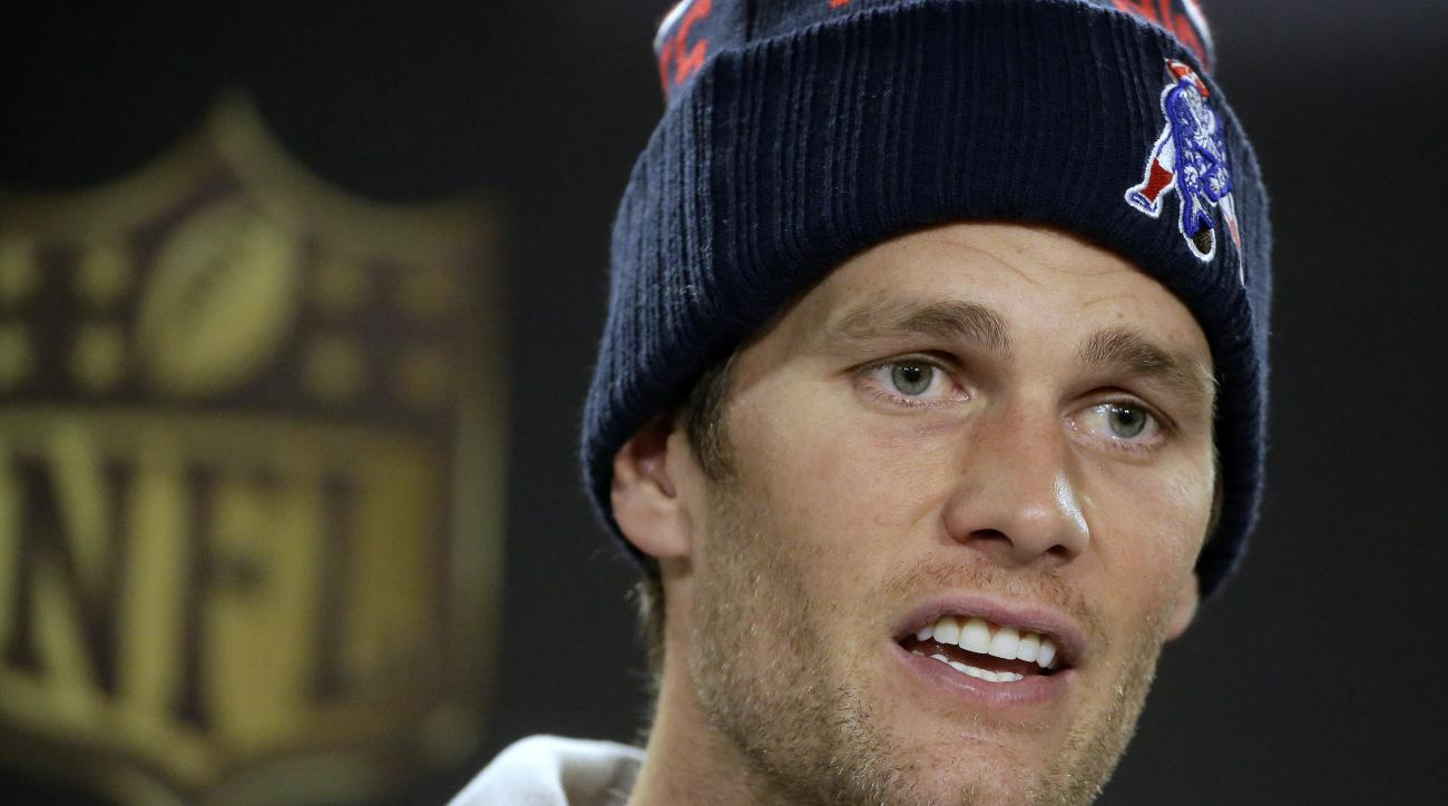 New England Patriots quarterback Tom Brady faces reporters before a scheduled NFL football practice, Wednesday, Jan. 20, 2016, in Foxborough, Mass. The Patriots are to play the Denver Broncos in the AFC Championship on Sunday in Denver. (AP Photo/Steven S
