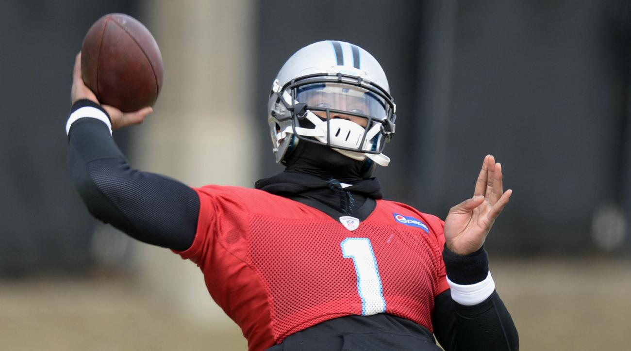 Carolina Panthers' Cam Newton throws downfield during NFL football practice in Charlotte, N.C., as the team prepares for the NFC Championship game against the Arizona Cardinals, Wednesday, Jan. 20, 2016. (David Foster III\Charlotte Observer via AP)