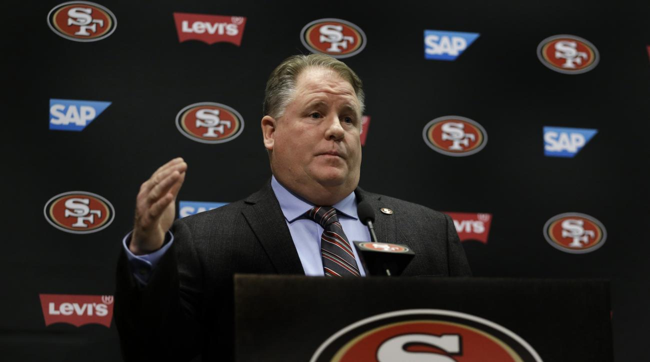 New San Francisco 49ers head coach Chip Kelly gestures during a media conference Wednesday, Jan. 20, 2016, in Santa Clara, Calif. (AP Photo/Ben Margot)